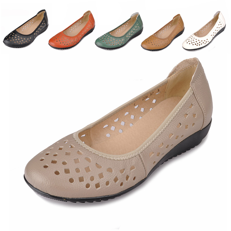 Genuine Leather Women Flats Shoes New 2017 Slip On Woman Fashion Leather Loafers Brand Designer Bow Sapato Feminino Flat Shoes