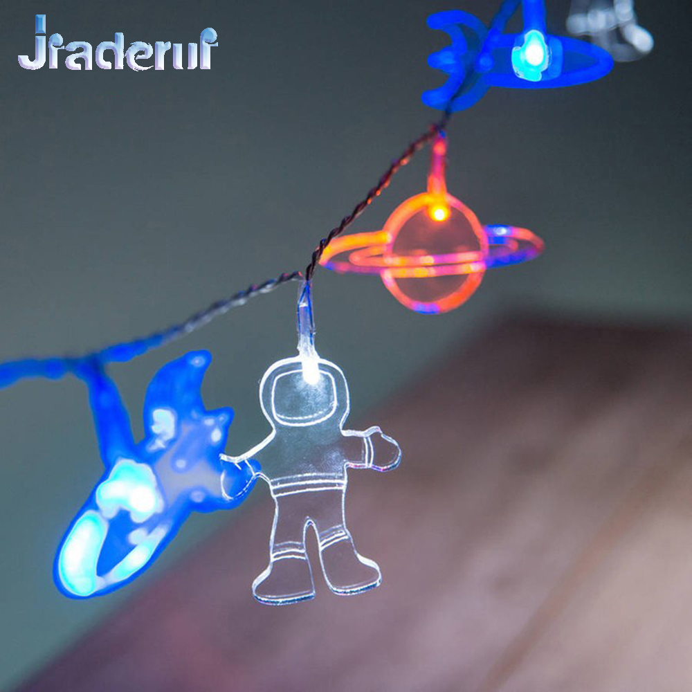 Jiaderui Baby Room Decoration Led Home Outer Space String Garland Light 1.65m 10LED Astronauts Spaceship Rocket Mars Kid Gift