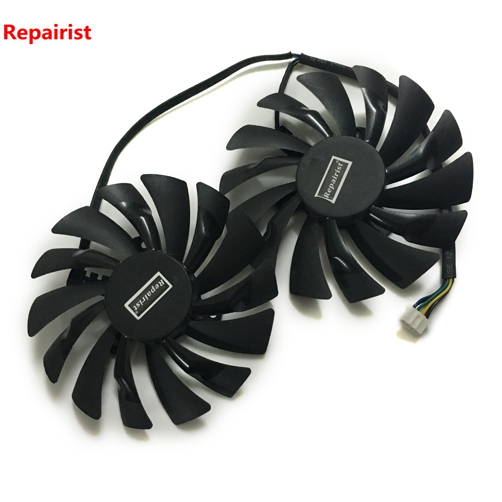 2Pcs/set Graphics cards Fan RX580 GPU VGA Cooler For HIS RX 580 XTR IceQ OC Roaring Turbo 8GB Video Card Cooling 100mm fan 2 heatpipe graphics cooler for nvidia ati graphics card cooler cooling vga fan vga radiator pccooler k101d