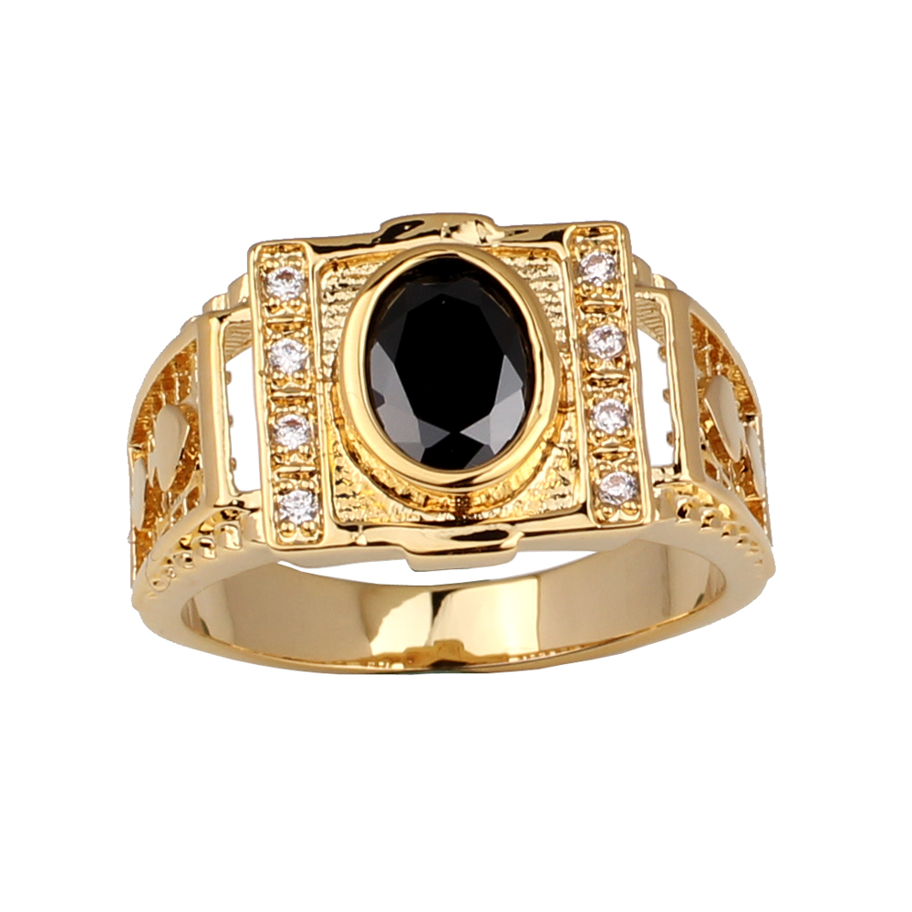 Men Gold Color Ring 7x9mm Oval CZ Black and Clear CZ Available Fashion Jewelry Size 9 10 11  R127J