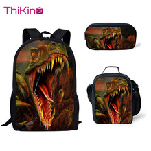 Thikin Casual Dinosaur Cute Print School Bags 3pcs/set for Teen Boys Backpack Cartoon Pattern Bookbag Lovely Satchel