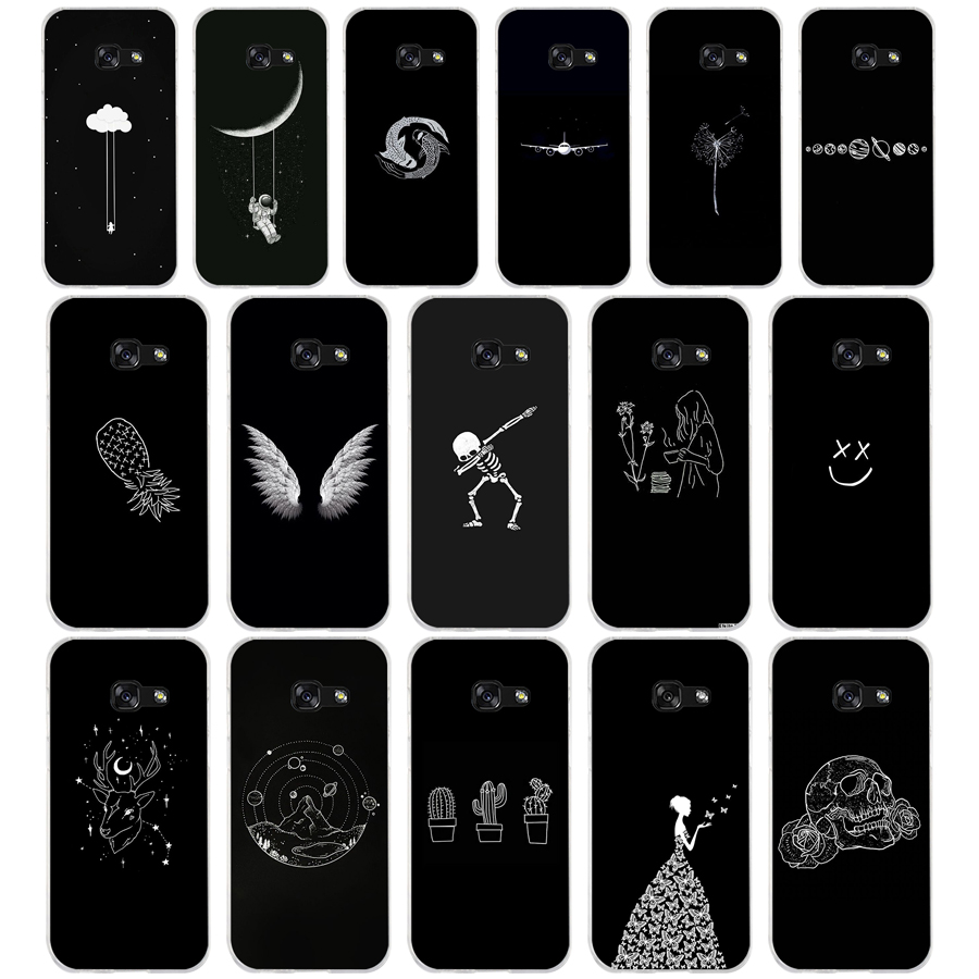 264AQ Line Art Face Abstract Pattern Soft Silicone Tpu Cover Phone Case For Samsung Galaxy A3 A5 2016  2017 A6 A8 2018