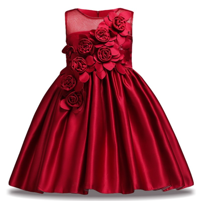 Flower Girl Dress for Kids Wedding Baby Girl Dress 2 3 4 6 7 8 9 10 Years Satin Sleeveless Baby Girls Birthday Dresses Vestido bbwowlin pink baby girls formal dresses vestido infantil for 0 2 years birthday pary christmas for kids princess dress 9055