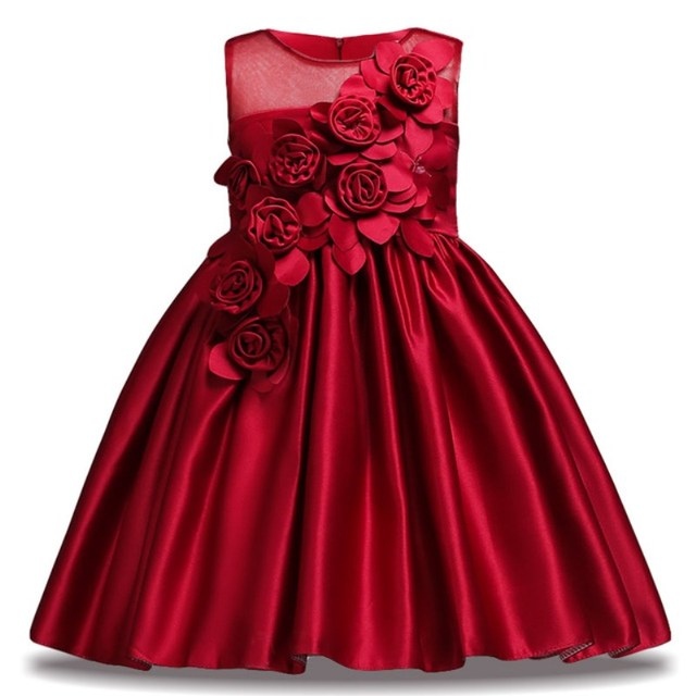 490e86c94752 Flower Girl Dress for Kids Wedding Baby Girl Dress 2 3 4 6 7 8 9 10 Years  Satin Sleeveless Baby Girls Birthday Dresses Vestido