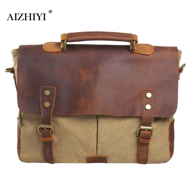 Men Retro Canvas Shoulder PU Leather Crossbody Bags Briefcase Vintage Portable Casual Messenger Handbags 36 X 28 X 10cm