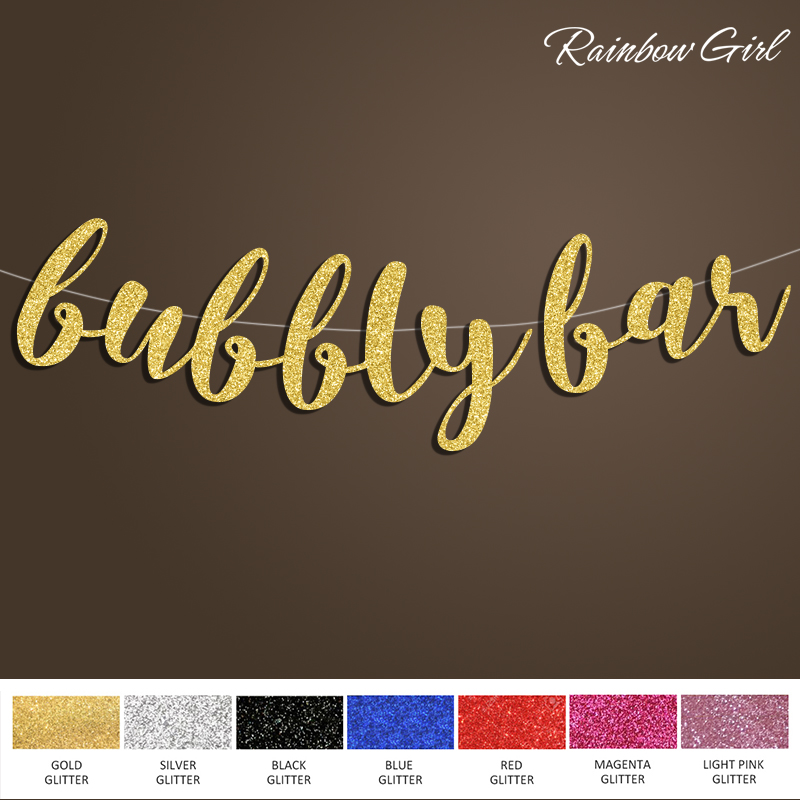 Bubbly Bar Banner,Gold Glitter Sign Backdrop for Banner Bridal Shower/Birthday/Bachelorette/Wedding Party Decorations Supplies