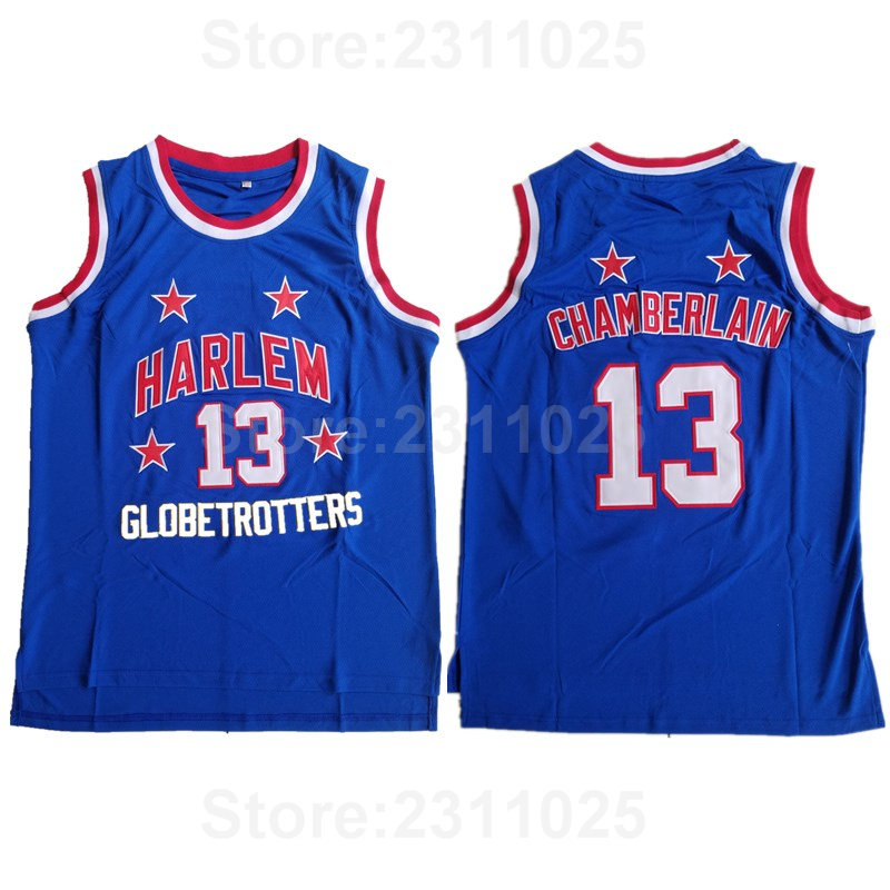 super popular 6ddbd 1698f US $16.46 39% OFF|Ediwallen Wilt Chamberlain Movie Jersey 13 Throwback  Basketball Harlem Globetrotters Jerseys Team Color Blue All Stitched  Sale-in ...