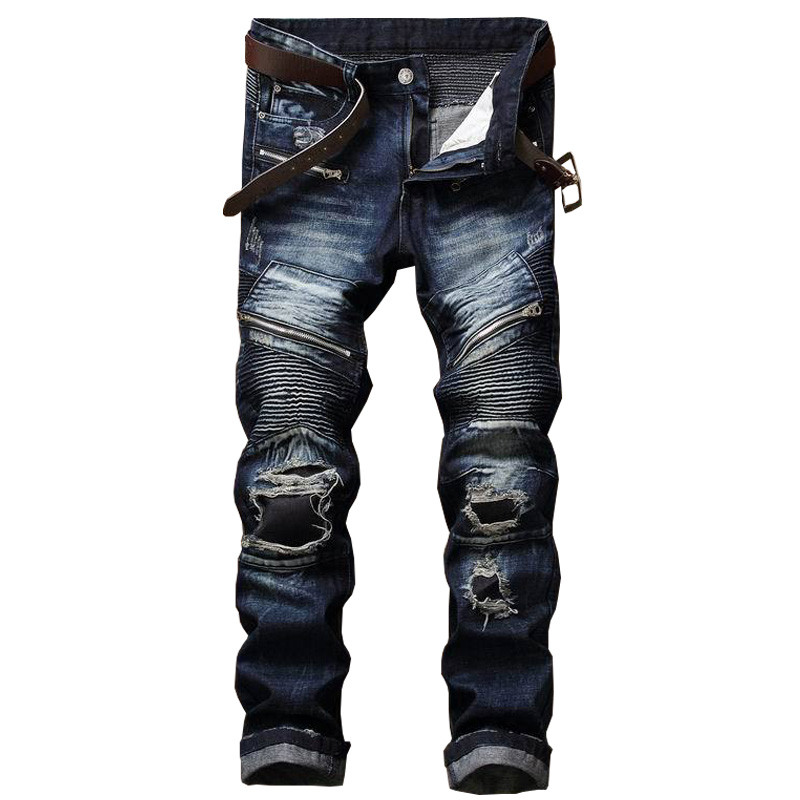 Newsosoo Brand Designer Man Ripped Patch Moto Jeans Male Slim Fit Straight Biker Denim Pants Trousers Distressed Multi Zipper 2017 new designer korea men s jeans slim fit classic denim jeans pants straight trousers leg blue big size 30 34