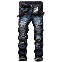 Newsosoo Marke Designer Mann Zerrissenen Patch Moto Jeans Männlich Slim Fit Gerade Biker Jeans Hosen Distressed Multi Reißverschluss