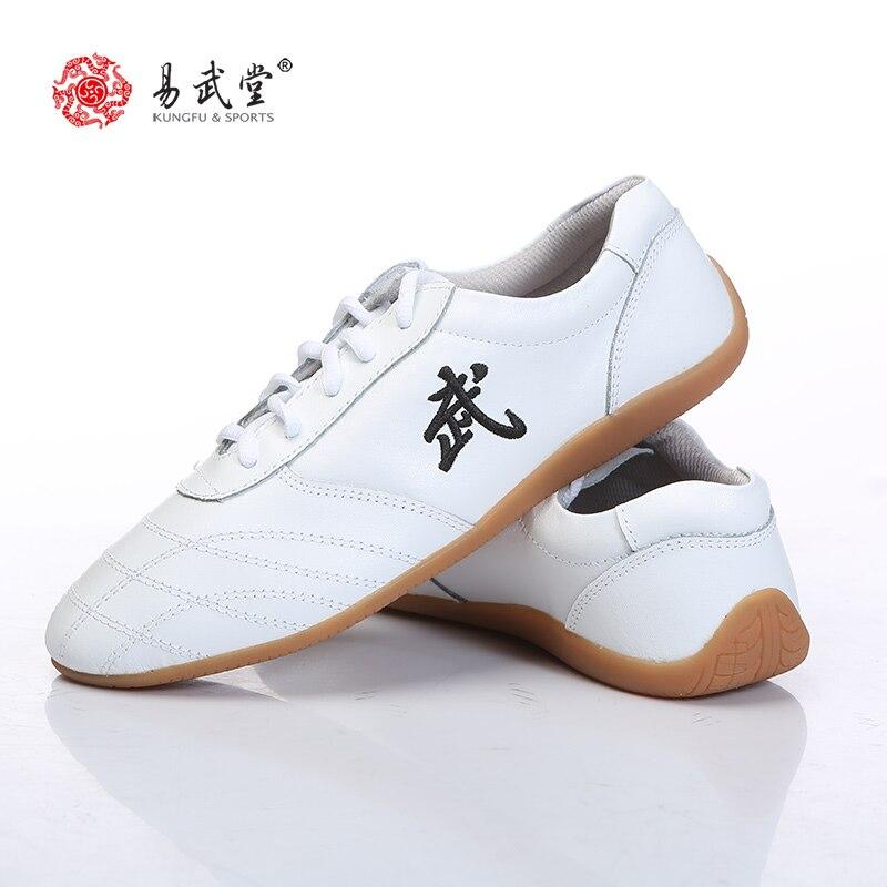 Sapatos de Couro Solas de Borracha para Crianças Sapatilhas das Mulheres dos Homens Yiwutang Artes Marciais Kung fu Tai Chi Sapatos Wushu Taolu Sapatos
