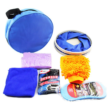 Car Cleaning Kit IncludeFolding Buckets, Gloves, Compressed Sponges, Car Wash Powder, Deerskin, Towel Cleaning Car, Oxford Bag фото