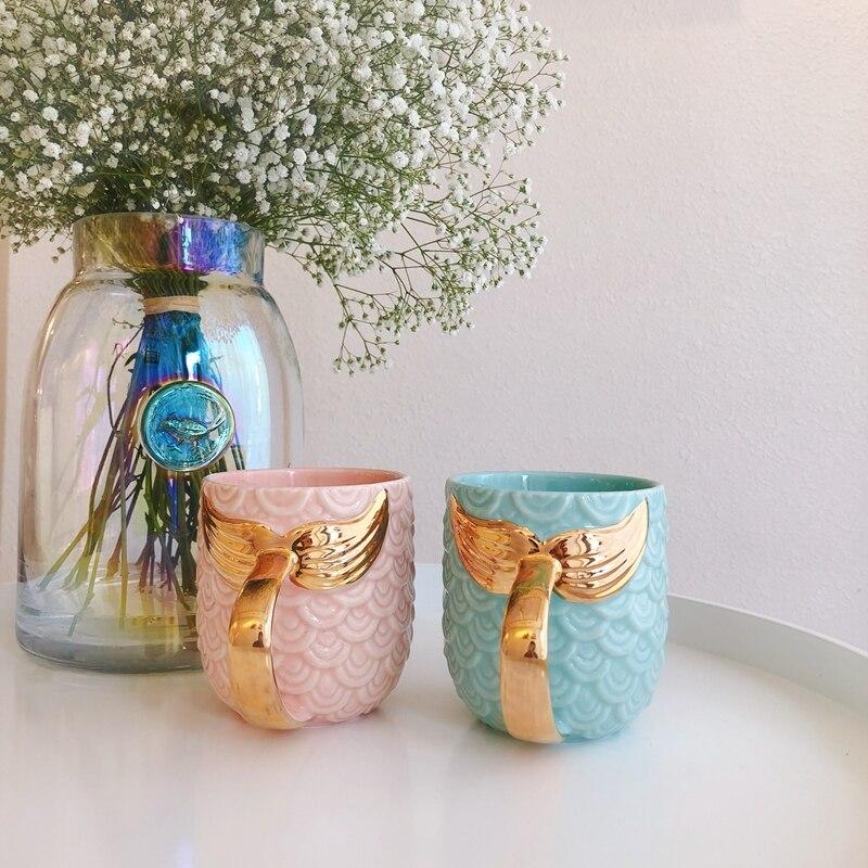 Taza de cerámica de sirena dorada tazas de la mañana porcelana verde menta Rosa Anti-caliente desayuno leche café taza de regalo Handel dorado 420 ml