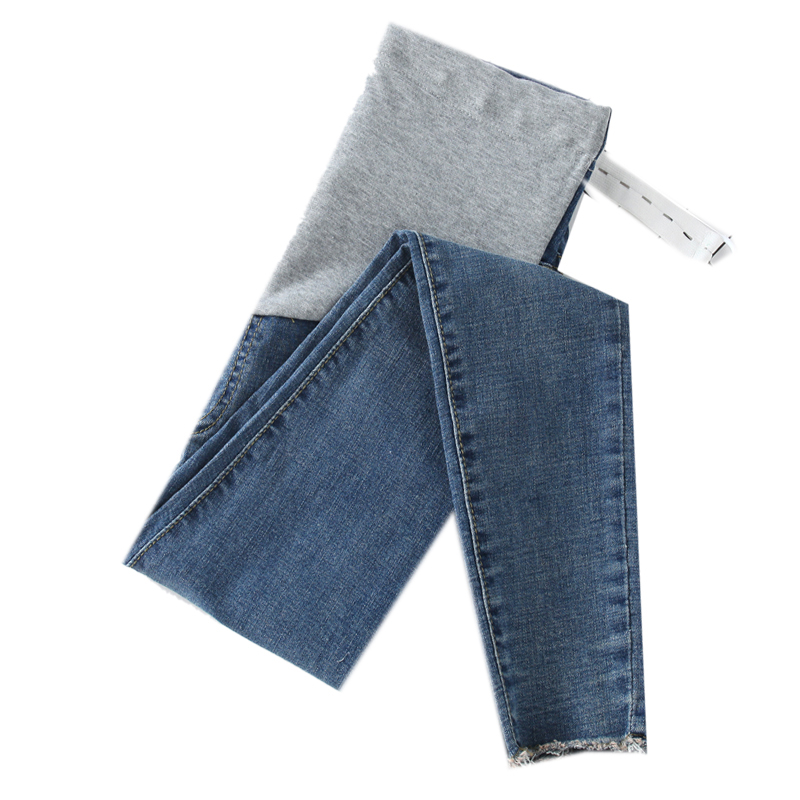 0252# 9/10 Length Stretch Washed Denim Maternity Jeans Summer Fashion Pencil Trousers Clothes for Pregnant Women Pregnancy Pants image