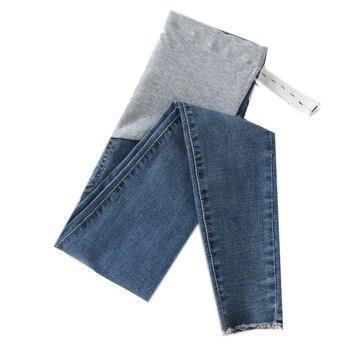 0252 #9/10 comprimento estiramento lavado denim jeans maternidade verão moda lápis calças roupas para grávidas calças de gravidez