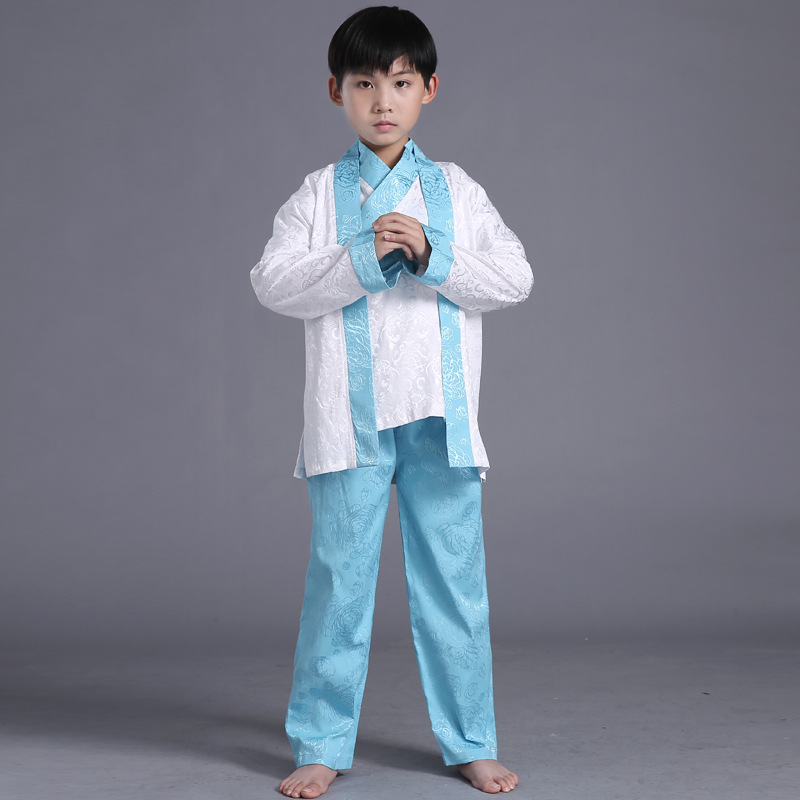 Traditional Baby Boys Hanfu Clothing Clothes Classic Children Performance Cosplay Costume Chinese Ancient Scholar Tang Suit