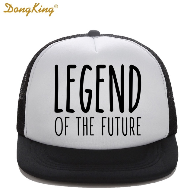 DongKing Kids Trucker Hat LEGEND OF THE FUTURE Print Girl Boy Baby Son  Baseball Caps Top Quality Snapback Funny Summer Gift 7bb98fd5f75