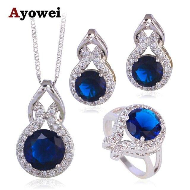 a09e22ebfd8 Estilo verão Azul Safira Zircon Prata Carimbado Zirconia Moda Conjunto de  Jóias De Cristal Do Casamento