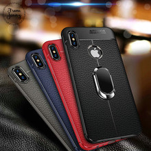 From jenny Soft Silicone Leather Back cover for iPhone X XR XS Max With Magnetic Car Holder Case for iPhone 7 8 Plus 6 6S Plus(China)