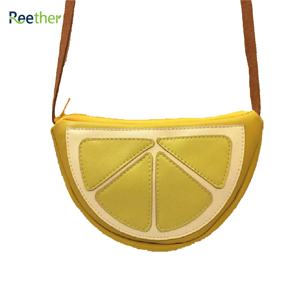 Reether PU Leather Kid Coin Purse Yellow Watermelon Childrens Messenger Shoulder Bag Girl Cute Charge Wallet Pouch w/ Zipper