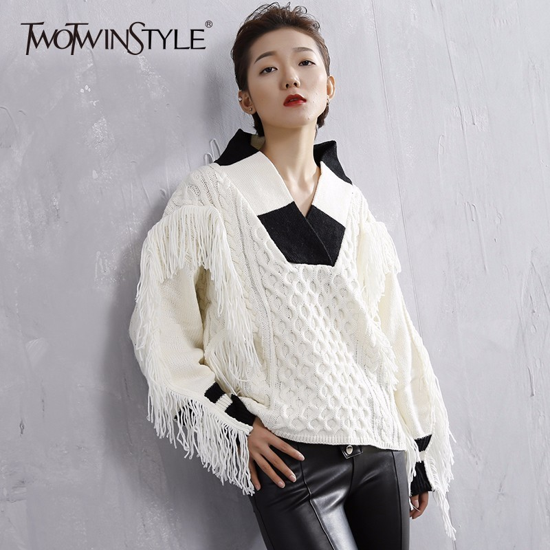 TWOTWINSTYLE Tassel Knitted Sweater Winter Women's V Neck White Tops Thick Warm Knitting Basic Pullovers Female Jumpers Fashion s396