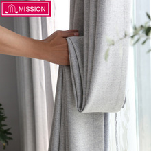MISSION 80-85% Shading Home Decor Blackout Curtain For Living Room Drapes Faux linen Curtains for Bedroom Window Customized