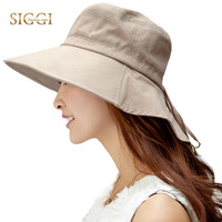 Womens Summer Sun Hat Wide Brim Flap Cover Cap Cotton Upf 50 With Neck Cord Fashion