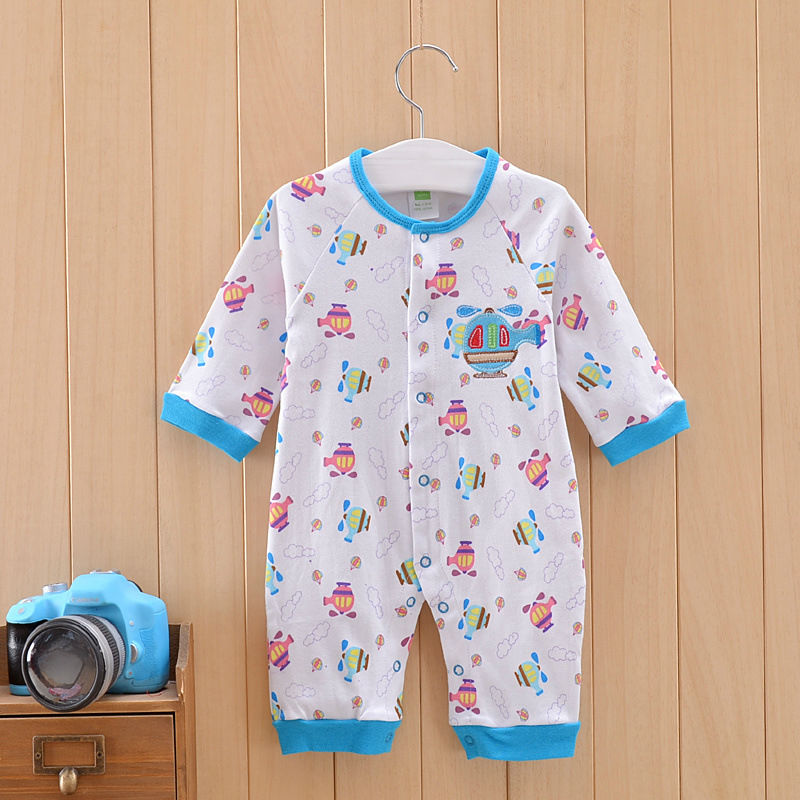 Free Shipping Baby Rompers Newborn Baby Pajamas Infant Warm Wear Boys Girls Long Sleeve Cotton one-piece Clothes Spring Autumn baby rompers 2016 spring autumn style overalls star printing cotton newborn baby boys girls clothes long sleeve hooded outfits