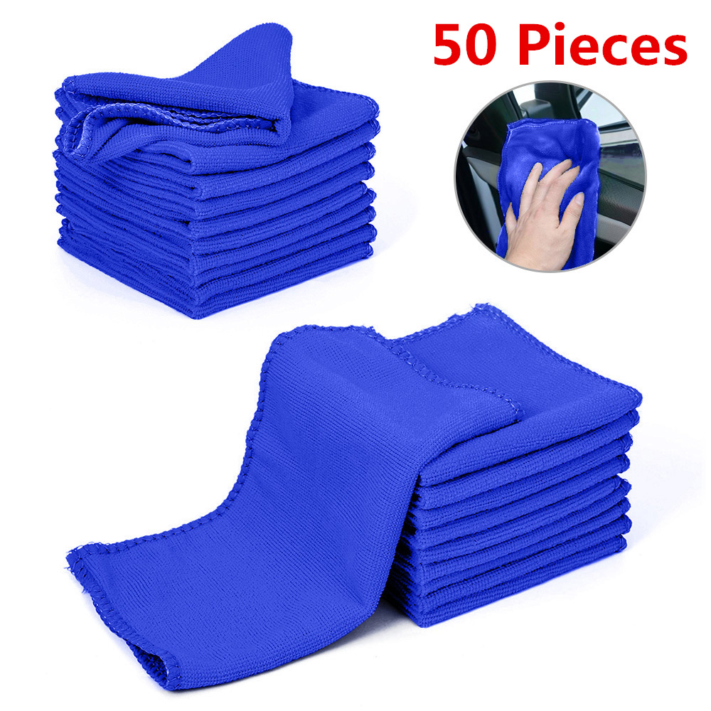 50 Pieces Microfiber Car Wash Towel Soft Cleaning Car Care Cloths Wash Towel Duster 9.84'' X 9.84''Inch Microfiber Towel Car