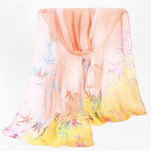 Fashion 2018 For Women New Shawl Scarf for Ladies Long Section Chiffon Scarf Bamboo Leaves and Flowers Silk Scarf Wraps Hijab