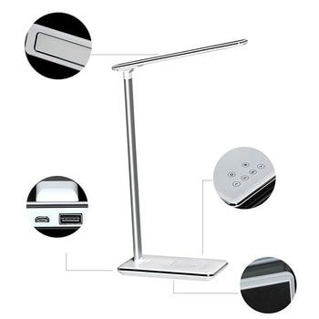 USB נטענת LED שולחנות שולחן מנורת מתכוונן עוצמת QI אלחוטי טלפון מטען קריאת מחקר אור בארה