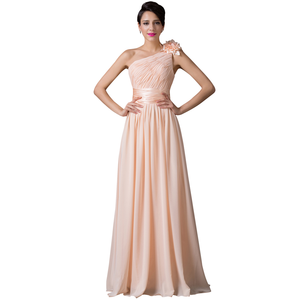 Online buy wholesale dessy bridesmaid dress from china dessy one shoulder apricot bridesmaid dresses cheap chiffon ruched prom party dress with flower grace karin bridesmaid ombrellifo Image collections