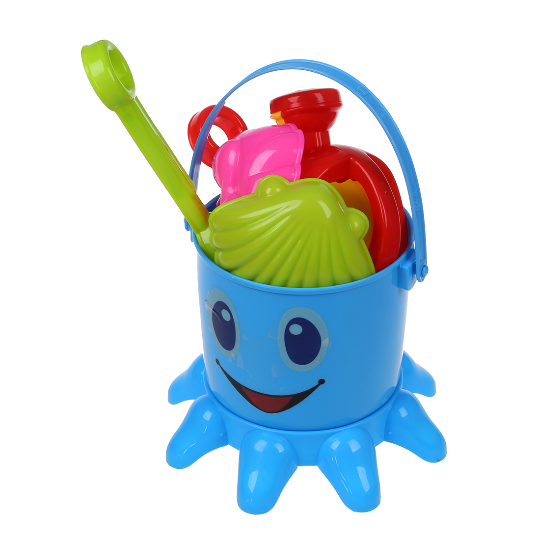 Color Lovely Cute Child Beach Octopus Baby Toy Large Hourglass Sand Tools Baby Bath Toys 7 Pcs Set