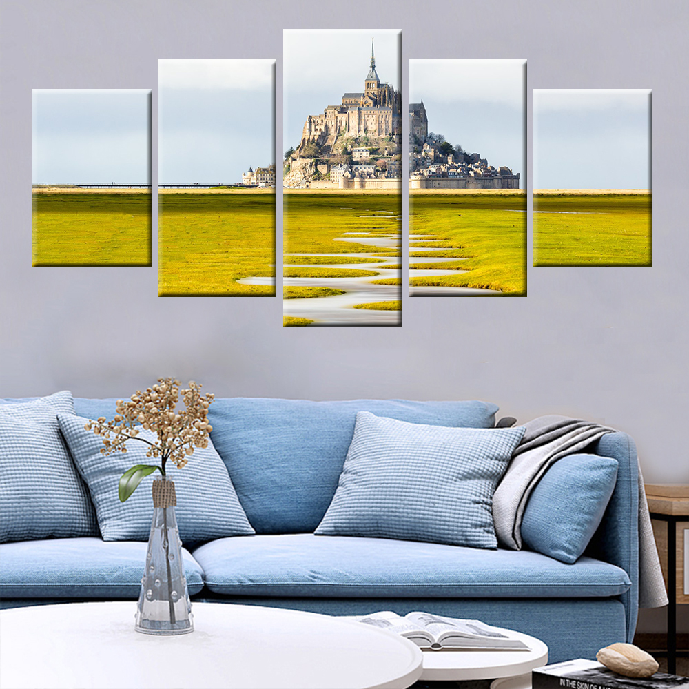 HD Print 5 Panel Modular Castle Hill Architectural Landscape Poster For Home Living Room Decorative Wall Art Painting