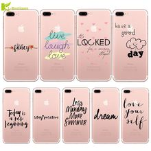 KL-Boutiques Silicone Case For iPhone 5S 6S 6 7 Plus 5 SE Coque Fashion Words Love Dream Ultra-thin Transparent Soft Phone Cover