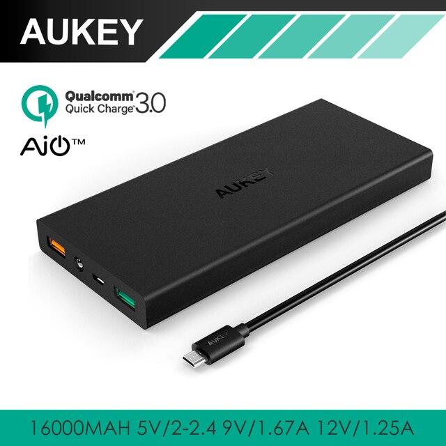 Banco de la Energía de Carga rápida 3.0 AUKEY con AiPower Carga Variable; puerto dual 16000 mah cargador portátil para cargar lg g5, htc 10