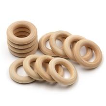JOJOCHEW 10 Méret Finom Minőségi Gyűrű Natural Wooden Teething Gyermekek DIY Fa Ékszerek Making Crafts 50db
