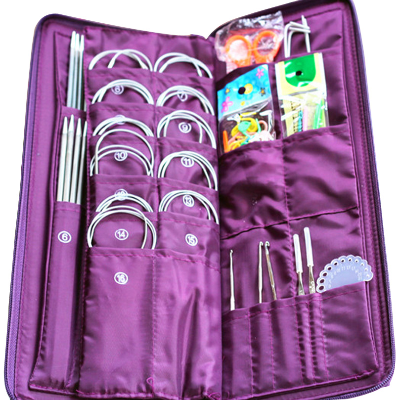 104pcs Stainless Steel Knitting Needles Tool Sets Crochet Hooks Circular Needle Hook Needlework Sewing Craft Knitted Tool Kit ouneed happy home 22pcs multicolour aluminum crochet hook knitting needle set weave craft yarn
