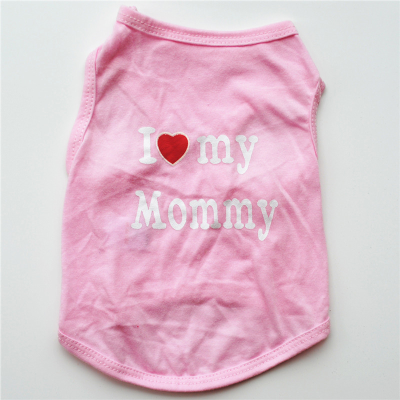Classic Love Mommy & Love Daddy Print Dog Vest Unisex Puppy Cat T Shirt Sleeveless Clothing Cute Dogs Clothes For Small Doggy 11