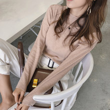 2019 MISHOW Autumn winter small high collar Knitted bottoming shirt women slim fit long sleeves sweater tops MX18D3417(China)