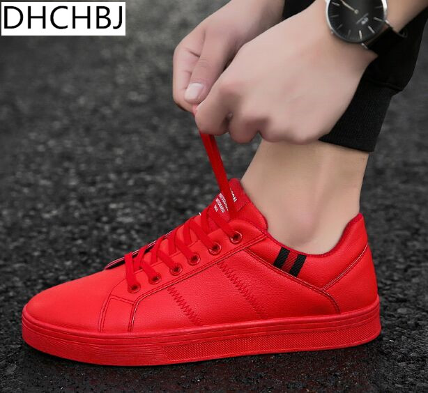 5be84ddcc70 US $32.99  2018 Men Casual Shoes Black Flat Male Walking Shoes Leather  Fashion Sneakers Brand Footwear Autumn Red Mens Rubber Shoes White-in Men's  ...