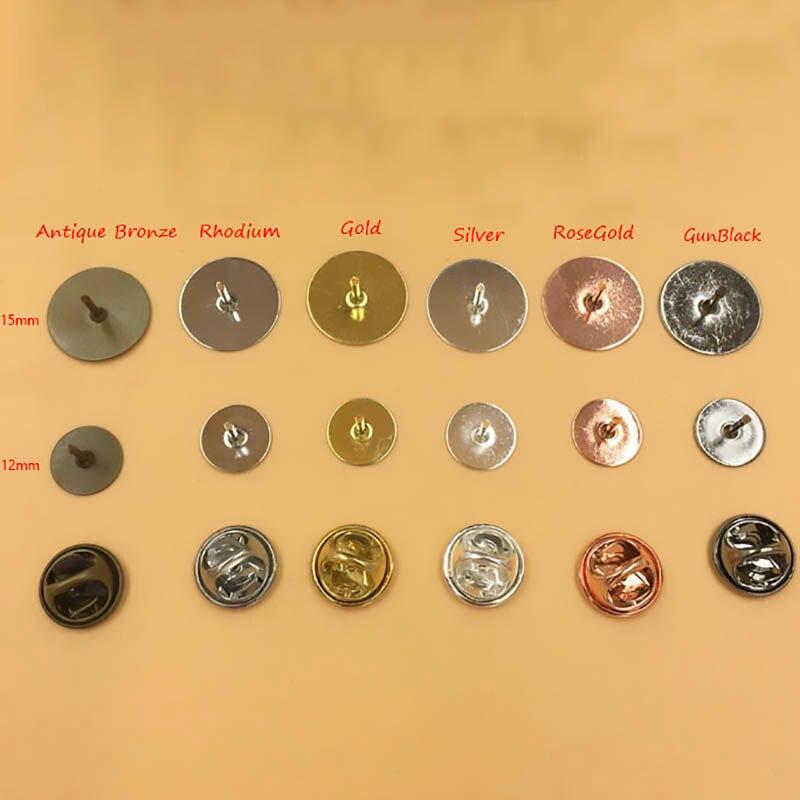 Broche de borboleta, 50 jogos/lote 10mm/15mm base suporte de broche de metal de cobre emblema para diy produção de joias achados