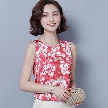 Korean Fashion Silk Women Blouses Satin Print Sleeveless White Women Shirts Plus Size XXXL Womens Tops Blusas Femininas Elegante