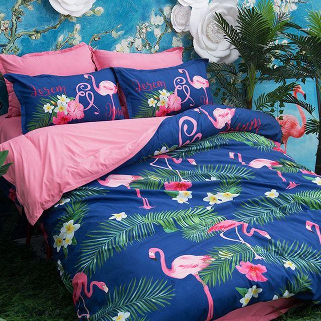 Accueil Textile Flamingo Ensemble De Literie Oiseau Housse De