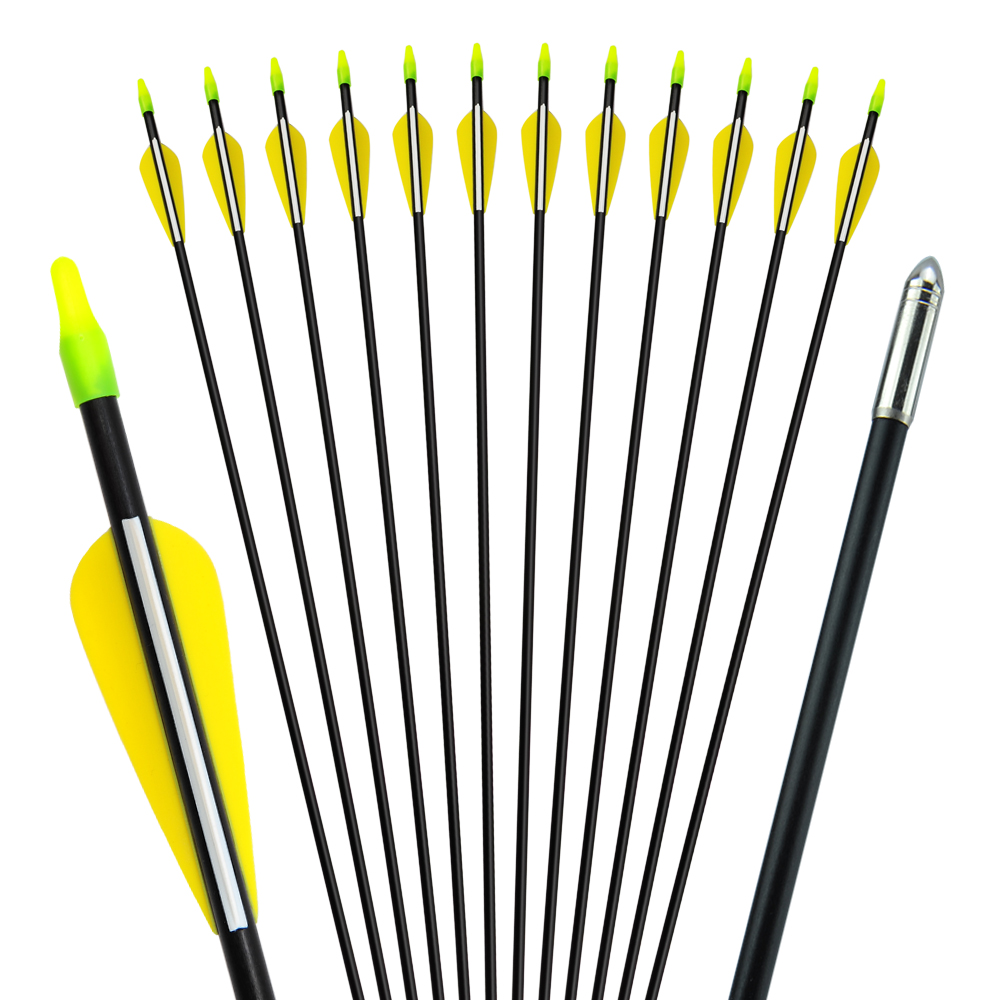 US 6/12/24 Pcs 30 Inches Spine 700 Fiberglass Arrow Outer Diameter 7mm For Recurve Bow Archery Shooting Hunting