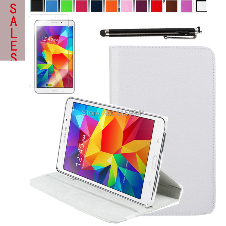 360 Degree Rotating Leather Stand Cover Case +Stylus+ Film for Samsung Galaxy Tab 4 8.0 inch ( SM-T330 / T331 / T335 ) (White)