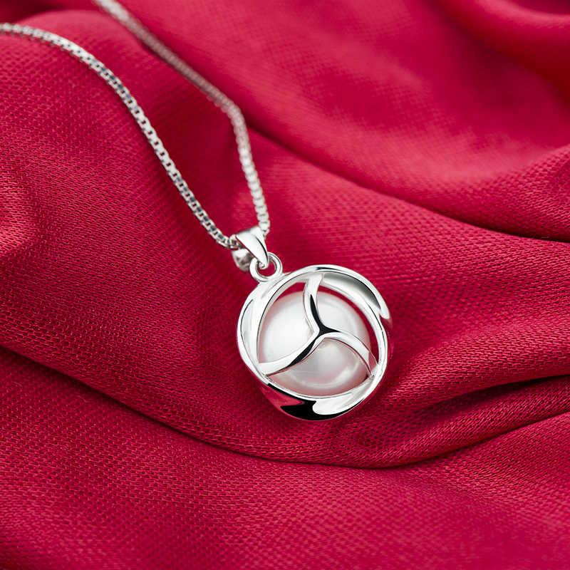 Hurtowa sprzedaż pereł biżuteria srebro naszyjnik na obojczyk naturalne perły wisiorek biżuteria perłowa na ślub dla kobiet 925 z pudełkiem