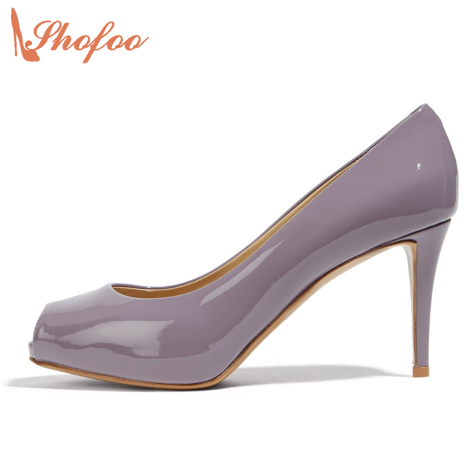 Shofoo New Women Summer 2017 Classic Patent Leather Peep Toe Pumps Gray Shoes Woman High Heels Zapatos Mujer Dress&Office 4-16 summer new brand patent leather cachottiere 100mm women sandals fretwork peep toe high heels shoes woman pumps zapatos mujer