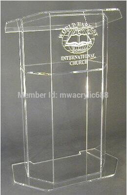 Wholesale Free Shipping Beautiful Dull Clear Polish Acrylic Podium Lectern With Shelf Acrylic Table