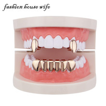 Fashion House Wife Rose  Gold Teeth Grills Hiphop Top&Bottom Grills Dental  Vampire Teeth Caps Halloween Jewelry Party LD0112