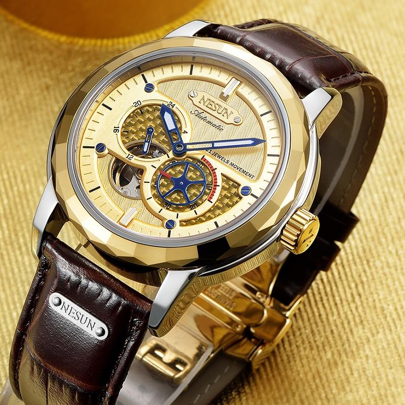 Nesun Для мужчин Роскошные модные Самовзводные Турбийон Механические Водонепроницаемый Наручные часы спортивные часы Relogio Masculino